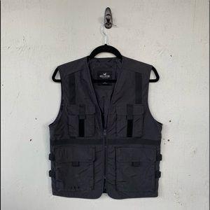 Hollister Black Full Zip Utility Vest